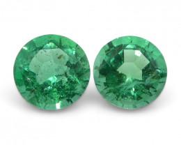 0.42 ct Round Emerald Pair