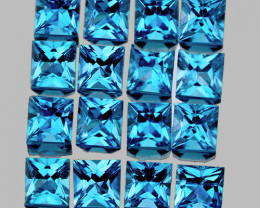 3.00 mm Square Princess 16pcs 2.92cts Swiss Blue Topaz [VVS]