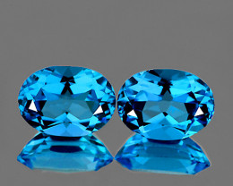 8x6 mm Oval 2 pcs 2.76cts Swiss Blue Topaz [VVS]
