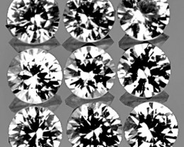 3.10 mm Round 9 pcs 1.16cts White Sapphire [VVS]