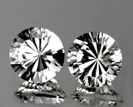 8.80 mm Round Diamond Cut 2 pcs 5.52cts White Topaz [VVS]