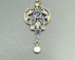 Sapphire  & Diamonds Antique Venetian Broach
