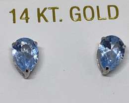 (4) Beautiful Nat 2.16cts Light Blue Aquamarine Stud Earrings
