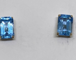 (2) Marvelous Nat 1.34cts Blue Topaz Stud Earrings