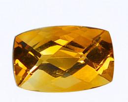 3.88 Cts Natural Golden Orange Citrine 12x8mm Cushion Cut Brazil