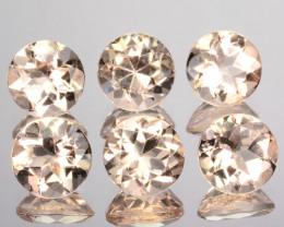 2.80 Cts Natural Peach Pink Morganite 5mm Round Cut 6Pcs Brazil