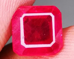 Certf. Natural Ruby Octagon  Rare stone colector.