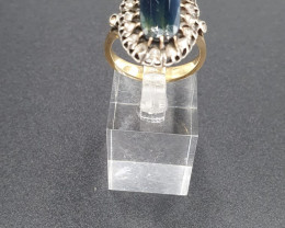 Antiquie 9ct Tourmaline & Diamond Gold Ring