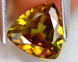 Sphene 1.10Ct VVS Trillion Cut Natural Rainbow Flash Green Sphene B0712
