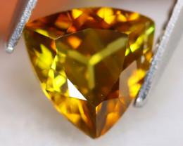 Sphene 1.24Ct VS Trillion Cut Natural Rainbow Flash Green Sphene B0727