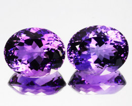 25.50 Cts Natural Purple Amethyst Oval PAIR Brazil Gem