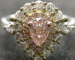 Engagement Ring GIA Certificate Pear Shape  0.50 ct Fancy Pink Natural Diam