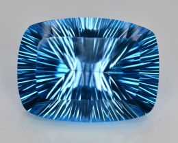 Amazing Laser Cut 56 Ct Natural Swiss Blue Color Topaz