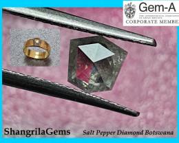 0.94ct 6.3mm Shield shape Salt and Pepper Diamond