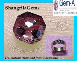 4.7mm 0.62ct Octagon brown Dalmatian diamond rose cut