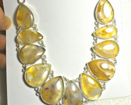 489.5 Tcw. Natural Golden Agate, Sterling Silver Necklace - Gorgeous