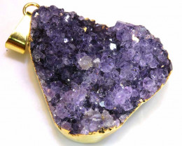 53.80 CTS AMETHYST CRYSTAL GOLD PLATED PENDANT SG-3543