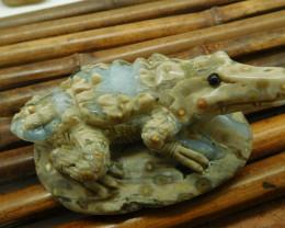 Ocean jasper carved crocodile decoration (D155)