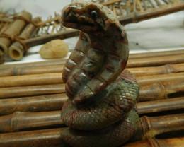 Ocean jasper carved snake decoration (D161)