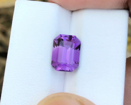 3.40 Ct Natural Purple Transparent Ring Size Amethyst Gemstone
