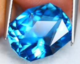 London Topaz 8.16Ct VVS Precision Cut Natural London Blue Topaz BN0106