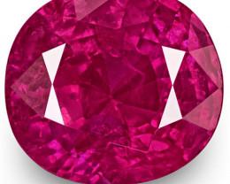 GRS Certified Burma Ruby, 2.48 Carats, Fiery Rich Pinkish Red Cushion