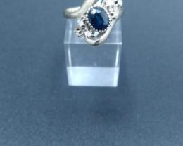 Sapphire & Diamond Gold Ring Art Deco