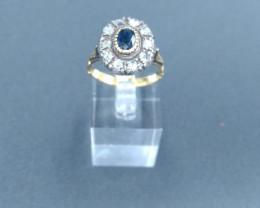 Sapphire & Diamond Gold Ring. Old Cut