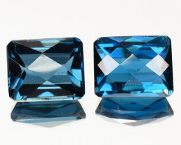 4.71 Cts Fancy Swiss Blue Color London Topaz Natural Gemstone Pairs