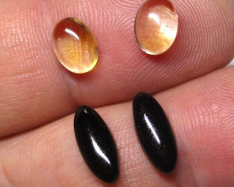 5.22tcw Onyx and Citrine Matching Oval Set