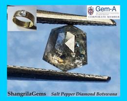 0.86ct 5.7mm Salt and Pepper shield Diamond