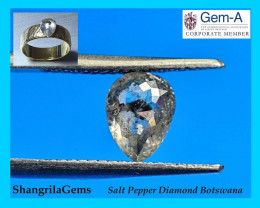 1.36ct 7.8mm salt and Pepper drop pear Diamond 7.8 by 6 by 3.7mm