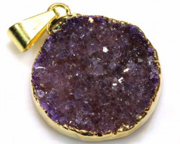 17.95 CTS AMETHYST CRYSTAL GOLD PLATED PENDANT SG-3571