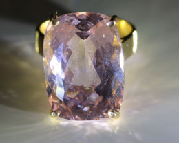 Morganite 23.44ct Solid 18K Yellow Gold Solitaire Ring   Size 7.25