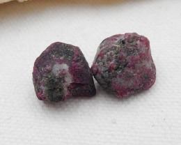 32Cts 2pcs Unique Red Ruby Gemstones, Raw Ruby Cabochons, Ruby Specimen G21