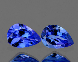 6x4 mm Pear 2 pcs 1.06cts Purple Blue Tanzanite [VVS]