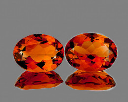 7x5 mm Oval 2 pcs 1.59cts Intense Orange Citrine [VVS]
