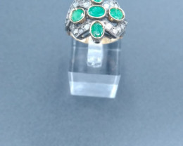 "Emerald & Diamond Gold ring 1930""s"