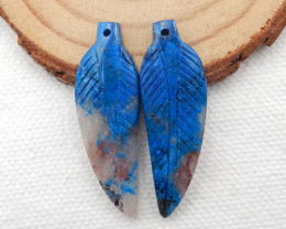 32.5cts Carved Leaf Earrings,Natural Chrysocolla Handcarved Leaf Earrings G