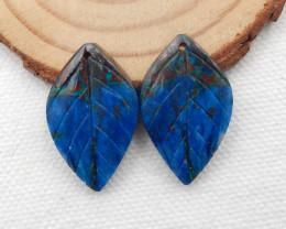 30.5cts Carved Leaf Earrings,Natural Chrysocolla Handcarved Leaf Earrings G