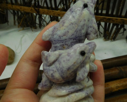 Purple jasper carved dolphin decoration (D169)