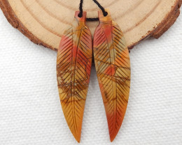 25cts Carved Leaf Earrings,Natural Multi Color Jasper Leaf Earrings G266