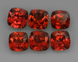 6.50 CTS NATURAL -RHODOLITE ORANGE-RED CUSHION GARNET 4 PCS!!