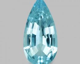 Precision pear cut, exquisite natural blue Santa-Maria aquamarine.