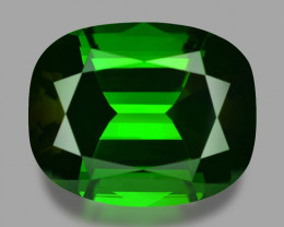 Precision cushion cut, exquisite natural vivid green tourmaline.