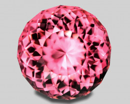 Precision custom round cut, exquisite natural neon pink tourmaline.