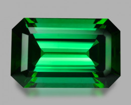 Exquisite custom emerald cut natural vivid green tourmaline.