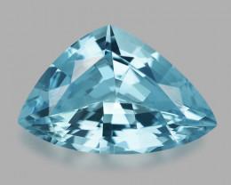 Exquisite custom trillion cut natural blue Santa-Maria aquamarine.