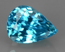 2.30 CTS AWESOME SPARKLE NATURAL RARE BEST BLUE ZIRCON PEAR EXCELLENT!