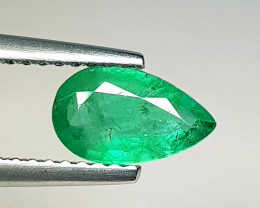 0.80 ct  Collective Gem Stunning Pear Cut Natural Emerald